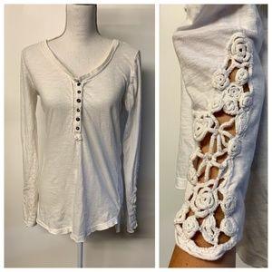 Free People White Crochet Long Sleeve Jersey Top